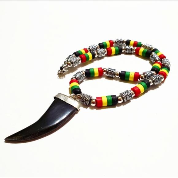 Other - Men's Rasta Bead Animal Fang Shaped Pendant
